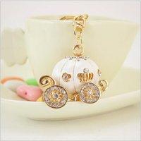 key rings - Cute Big White Princess Pumpkin Carriage Crystal Charm Keychain Key Ring Alloy Key Chains Accessories