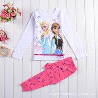 Wholesale Frozen Clothing Sets Long sleeves pants Anna Elsa Princess Kids Pajama Set Snow Queen Girl Nightie Sister Forever Pyjamas Y30109