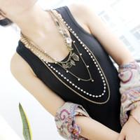 antique pearl necklace - Antique Gold Color Alloy Leaf Flower Owl Imitation Pearl Multilayer Chains Vintage Long Necklace Women