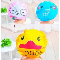 Wholesale Cute Cartoon Shower Cap Waterproof Shower Cap Environmental Protection Lace Elastic Band Hat Bath Cap