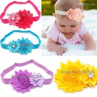 baby girl souvenirs - MOQ Colors Children Kids Baby Girl Headband Elastic Rubber Band With Flower Newborn Hair Bows Accessories Souvenirs