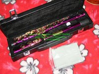 Wholesale purple gold key hole Flute with case Musical Instruments Woodwind Flute