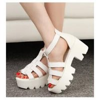 ankle strappy sandals - 2015 New Summer Lady Strappy Platform Block Heel Chunky Pure Buckle Leather Peep Toe Ankle High Sandals Women Gladiator Shoes
