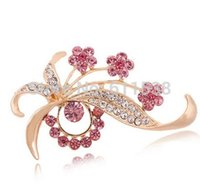 Wholesale hot pink brooch rhinestone embellishment Fashion Jewelry Brooch for Women gift