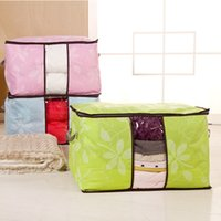 Cheap Nonwovens Leaves Print Foldable Storage Bags For Bedsheet Cotton Quilt Clothiing Storage See Through Big Size Home Storage Housekeeping Bags