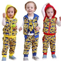 Wholesale 2015 new AAA quality baby clothes cotton Despicable Me Outfits Hoodies top T shirt pant set Minions sets Spring and Autums clothes