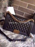 Wholesale High End Customized Vintage cm Quilted Leboy Flap Bag Black Genuine Lambskin Leather Handbags Classic Plaid Chain Shoulder Bag