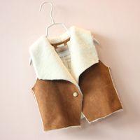baby vests - 2015 Kids Girls Faux Suede Fur Vests Baby girl Big Collar Autumn Winter Waistcoats Babies children s outwear clothes