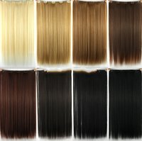 Wholesale Hair extension Color Clip in hair extensions Synthetic Hairpiece jf142 Women hair Extention clip