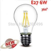 Wholesale 1PCS E27 W W W W LED Chips LED Bulb Light Lamps Glass Globe Lamp Edison Filament bulb Warm White V V High Power