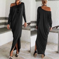 long casual dresses - 2016 Good Quality Spring Autumn Women Maxi Dresses Long Sleeves Irregular Plus Size Oversize Loose Wrap Dress Ladies Vestidos OXL15092107