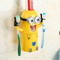 Wholesale Minions Toothbrush Holders Automatic Toothpaste Squeezer Dispenser Couple Toothbrush Cup Holder Family Bathroom Sets Suit Free DHL