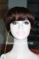 hand tied full lace wig - short hair wig human hair fashional full hand tied lace wig Brown Short Wig RJ