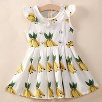 banana costume kids - 2015 Hot Selling Children Pleated Dresses D Banana Printed Kids Costume Bowknot Fly Sleeve Sundress For Europe and America Girls K212