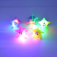 Wholesale Cool LED Flashing Light Starfish Finger Rings Blinking Party Soft Light Up Rave Glow Jelly Ring