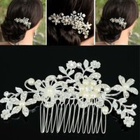 Wholesale 2015 Fashion Bridal Wedding Tiaras Stunning Fine Comb Bridal Jewelry Accessories Crystal Pearl Hair Brush