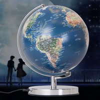 Wholesale Modern Hot Sale Tellurion Geography teaching LED Globe Map Light Stainless steel Decoration Sphere Night Lights