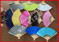 paper fans - Bamboo Hand Fan Double Sided Paper without Any Pattern Print on the Solid Color Fans for wedding