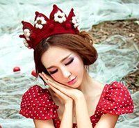 Wholesale Princess Crown Girl Knitting Hat Flower Style Red Color Christmas Gift B3