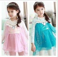 Wholesale New Arrival Elsa Princess Girl Frozen Dress Long Style Korean Lace Sleeve Children Dresses Pink Blue Have Actual Photo Kids Clothes WD404
