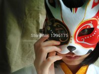 face painting supplies - Hand painted Cosplay Mask Endulge Japanese Mask Upper Half Face Halloween Masquerade event party supplies