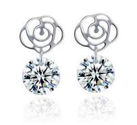 Wholesale 925 Sterling Silver Stud Earrings Fashion Jewelry Camellia Flower Shamballa Zircon Diamond Crystal Super Blink Earring for Women Girls