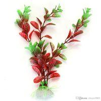 aquarium ornaments - Dark Red Green Fake Plastic Water Plant for Fish Tank Aquarium Ornament
