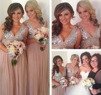 Wholesale 2016 Sequins Chiffon V Neck Bridesmaid Dresses Rose Gold Sparkly Maid of Honor Bridal Wedding Party Gowns MaternityCustom Made