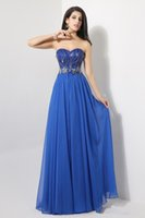 Cheap 2014 In Stock Blue Chiffon Backless Prom Dresses Sweetheart Neckline Sleeveless Sequin Beading Backless Evening Gownsns