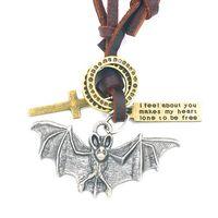 bats leather necklace - Bat Adjustable Leather Necklace Metal Pendant Charms Male Punk Rock Hiphop Decorations Amulet Fashion Jewelry