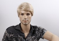 Wholesale Men s Hair Wigs Short Synthetic Male Wig for Party Blonde Color Male Wig Kanekalon