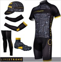 bicycle half finger gloves xs - New Team livestrong cycling jersey quick dry summer bike shorts complete set with bicycling warmers and half finger bicycle gloves