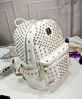 mcm bag - Rivets MCM Sparkle Backpack Unisex hip hop backpack small A87 MCM shoulder bag MCM school bags leather backpacks