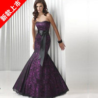 Wholesale fashion fish tail long design purple mermaid evening dresses prom dressess party dressess