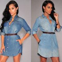 night shirts - 2015 Women Slim Fit Denim Jean Dress Long Sleeve Casual Mini Shirt Dress Work Office