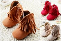 Wholesale 0 months girl soft bottom toddler boots new tassel baby warm boots comfortable balance children soft bottom winter pair B3