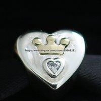 925 plata esterlina 14K encanto del grano de oro verdadero Majestuoso Corazón con pulseras de la joyería CZ clara europea apta Estilo Pandora Collares Colgante
