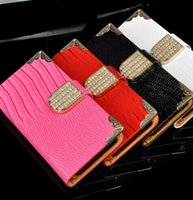 rhinestone cell phone cover - Iphone s Case Luxury Flip Leather Rhinestone Hasp Wallets Card Slots Cover for Apple iphone4 g Smart Cell Phone Wallet Cases Cheap