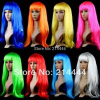 Wholesale Anime Cosplay Wigs DHL Hot Sale Multicolor Cheap Synthetic Hair Wig Cosplay Colored Costume Long Straight Wigs For Party