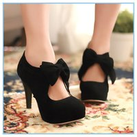 Wholesale ENMAYER colors bigsize vintage style woman small bowtie platform pumps ladys sexy high heeled shoes Wedding Shoes for