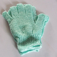 Wholesale Exfoliating spa Green bath gloves body scrubbing shower spa bath gloves bath mitt healthy care