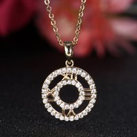 astrolabe necklace - Fashion Clavicle chain necklace for Love Rome astrolabe pendant filled high quantity CZ rhinestone gold silver plated for women