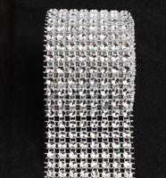 Wholesale Silver Diamond Rhinestone Crystal Mesh Wrap Ribbon Rows Yard Q079