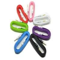 Wholesale 1pc Colorful mm Stereo Auxiliary Cable Male to Male Flat Audio Music Aux Cord