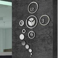 Wholesale Fashion Diy Personalized Clock d Home Modern Decoration Mirror Living Room Wall Clock Silver Drop Shipping HG WS