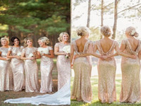 Wholesale 2016 Gold Sequins Long Bridesmaids Dresses Short Sleeve Navy bridesmaid sleeve Crew Open Low Back Sheath Prom Evening Gowns
