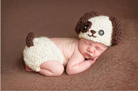 baby puppy photos - 2016 Baby Infant Knitted Puppy Dog white Costume Newborn Photo Props Crochet Puppy Dog Hat set Cosplay Outfit set Kids Clothing free ship
