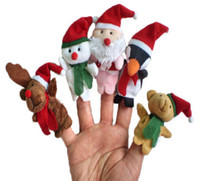 baby bear puppet - Cartoon Christmas Santa Claus Finger Toys Puppet Plush Toy Snowman Bear Dolls For Kids Baby Children Gift set Free DHL sets