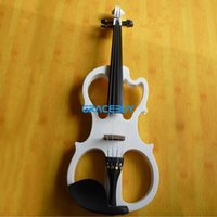 Wholesale Black White Beginner Electric Fiddle Violin Wooden Student Electronic Violine Send With Gift Headphone Rosin Case And Cable