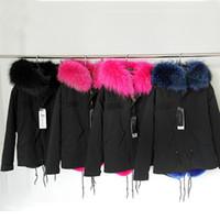 Wholesale DHL Mrs furs parkas black jacket women shorts coats hooded with Real Raccoon Fur Sweden